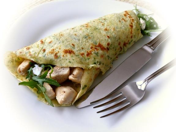 Špenátová omeleta s krůtím masem